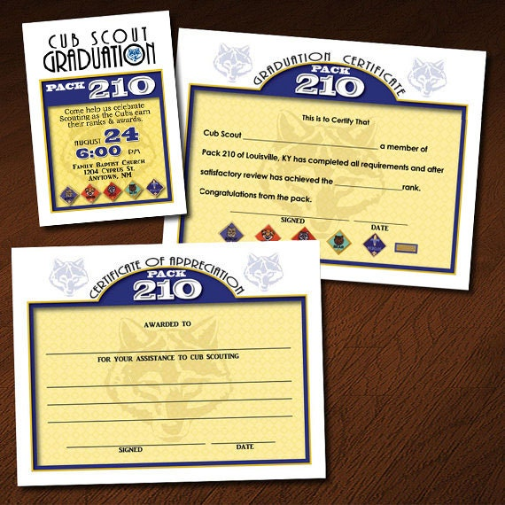 Custom cub scout graduation or blue gold invitation for Cub scout blue and gold program template