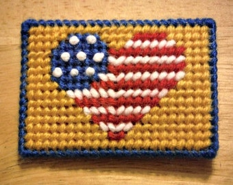 Patriotic Heart Gift Card Holder, Plastic Canvas, Money Card Case, Fourth Of July