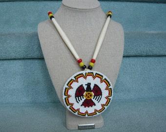 Vintage Native American Beaded EAGLE Pendant Necklace