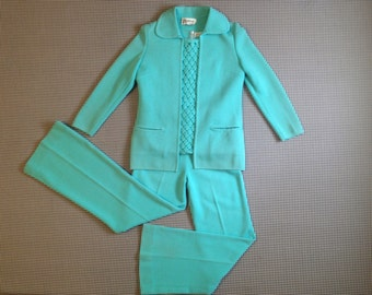 1970's, three piece, knit wool,outfit, in minty aqua, Women size 8
