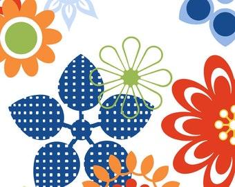 Bloom Modern - Floral, Orange/Blue/Green (1BLM1)  In The Beginning Fabrics - Yardage