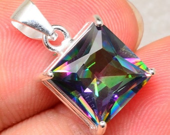 Beautiful Rainbow Topaz Sterling Silver Pendant Perfect Gift