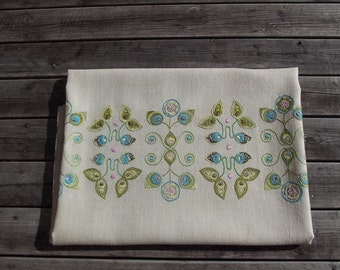 Scandinavian Vintage Acrylic Tablecloth with Handmade Embroidery. Mid Century Table Cloth.  Vintage 1960s.