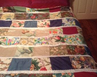 Pretty patchwork quilt throw