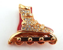 Vintage Swarovski Rollerblade Pin, Red Enamel Rollerblade Rhinestone Brooch Pin Signed Swarovski, Rare Swarovski Pin