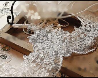Alencon lace trim in ivory for bridal veil, wedding gown fabric trim ,