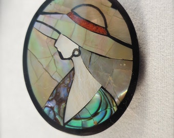Shell Mosaic Brooch ~ Lady with Hat Mosaic