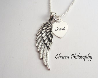 Dad Necklace - Angel Wing Sympathy Jewelry - Grief Necklace -  925 Sterling Silver - Custom Mom or Dad