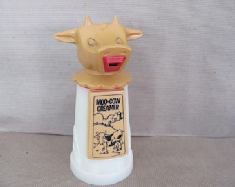 Vintage Moo Cow Creamer, 1960's Plastic Cow Creamer, Whirley Industries, Kitchen Cow, 1960's, Mid Century Decor, Vintage Kitchen