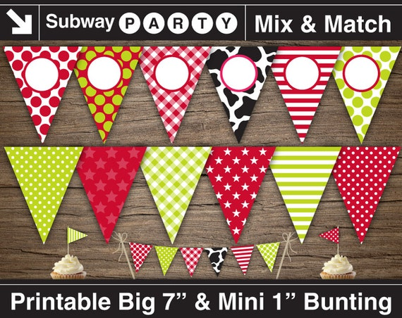 farm party printable banner and mini cake bunting  black cow