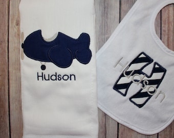 Personalized Boy's Burp Cloth and Bib Set - Applique Plane and Personalized Bib with Appliqued Initial and Monogram
