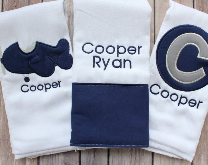Monogrammed Baby Boy Burp Cloth Set, Airplane Burp Cloth, Monogram Boy, Airplane Baby Gift, Navy Grey Baby, Personalized Boy Airplane Gift
