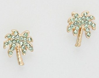 Palm tree crystal stud earrings