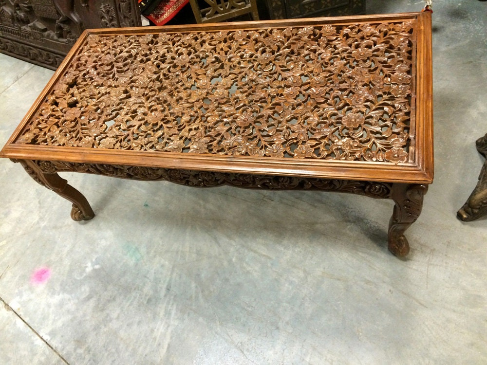 Indian Inspired Coffee Table Floral Lattice Hand By Mogulgallery