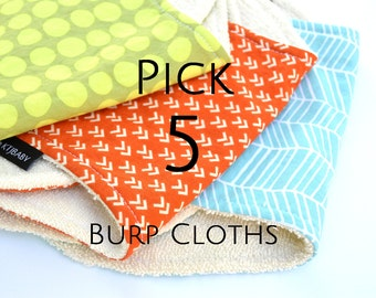 Pick 5 Burp Cloths | Terry Cloth Burp Cloths | 5 Burpies | Burp Cloth Set | Baby Shower Gift | Set of 5 Burp Cloths