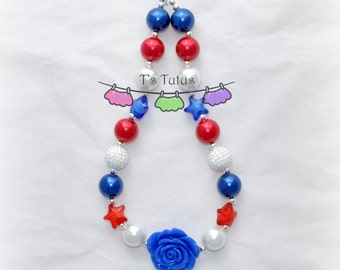 Patriotic Royal Blue Rose Children's Chunky Necklace, Chunky Necklace Chunky Bead Necklace Girls Necklace Star Beads Pearl Beads