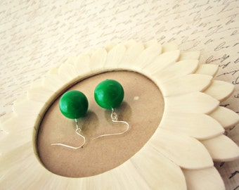 Emerald Green Bead Earrings - Green Clay Jewelry, Forest Green, Round Bead, READY TO SHIP