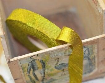 harvest gold chartreuse dupioni silk ribbon