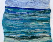Felt Picture Seascape 3,  felted art picture or wall hanging, fibre art multi media