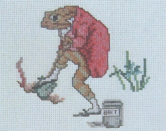 cross stitch beatrix potter mr jeremy fisher worms for fishing  CHART INSTRUCTIONS ONLY lakeland artist new