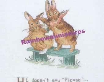 cross stitch beatrix potter rabbit  CHART INSTRUCTIONS ONLY lakeland artist new