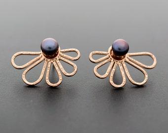 Rose gold ear jacket earrings, gift for women, double sided earrings, pearl earring jackets, front back ear cuff jackets, rose gold earrings