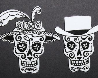 Day of the Dead Art Sugar Skull Catrina Couple vinyl car sticker #73