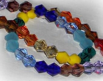 Rainbow Crystal Bead Mix, 4mm Crystal Bicones, Rainbow Crystal Bicone Bead Mix, Rainbow Mix, Bead Mix, Crystal Bead Mix, 4mm Beads
