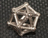 Icosahedron A geometric pendant Bronzed stainless steel  1 inch 25 mm
