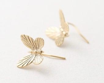 5547014 / Butterfly / 16k Matt Gold Plated Brass Earring Hook 14.5mm x 12mm / 0.8g / 2pcs
