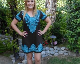 Plus size Dress, Plus Size Clothing, Dresses, Tunic Dress, Western Dress, Boho, Brown turquoise, XS S M L XL 2X 3x, Short Sleeve, V Neck
