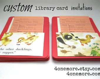 Custom Library Book Pockets with Library Card for a Build-a-Library Baby Shower, authentic upcycled library card invitations