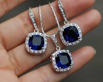 sapphire blue bridal jewelry set earring necklace set blue jewelry set wedding jewelry