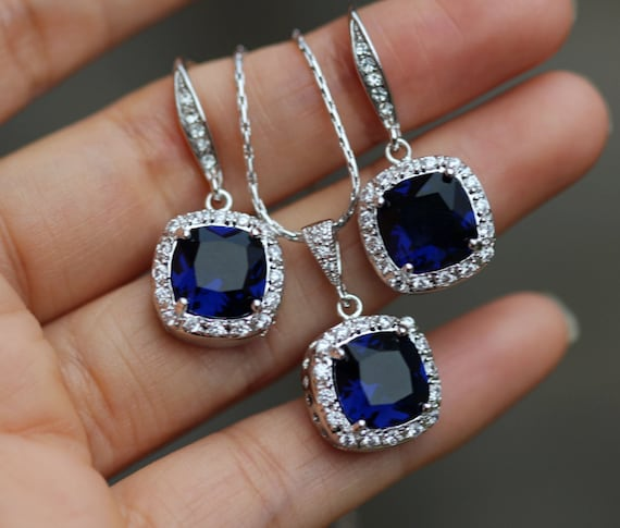 sapphire necklace and earrings set sapphire blue bridal jewelry set earring necklace set blue 2793