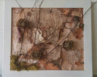 Flowery tree cones on birch bark with branch and moss framed in white