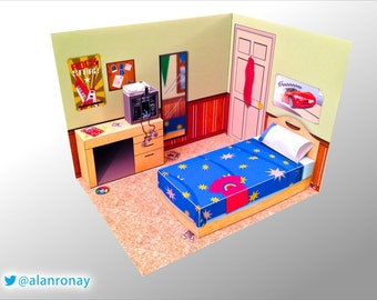 1980s Bedroom Scene DIY Papercraft