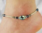 Anklet, Ankle Bracelet Beaded Anklet Metallic Seafoam Sage Green Crystal Denim Blue Antique Gold, Beach Vacation Resort Cruise, Gift for Her