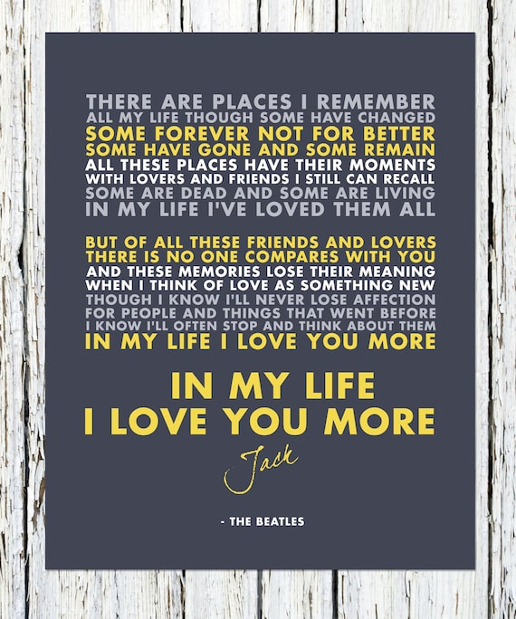 Lyrics: In My Life 8 X10 Beatles Song Lyrics Print The Beatles