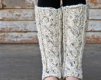 Cable Knit Leg Warmers Knitting PATTERN - INVENTIVENESS - a set of INSTRUCTIONS to knit the leg warmers