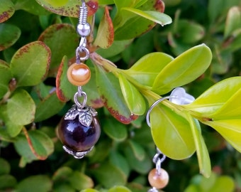 Chocolate and Caramel Colored Beaded Earrings - Hypoallergenic
