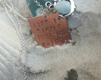 """Life is Simple - 18"""" Silver Plated Charmed Necklace With a Hand-Stamped Charm"""