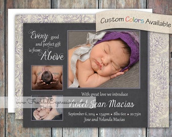 Baby Girl Birth Announcement - Above