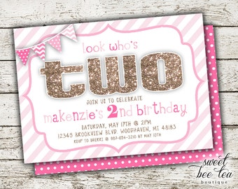 Baby Girl Pink & Gold Ombre Custom Birthday Invitation - Printable Invite - Second 2nd Birthday Two - Chalkboard - Polka Dot Chevron Flags