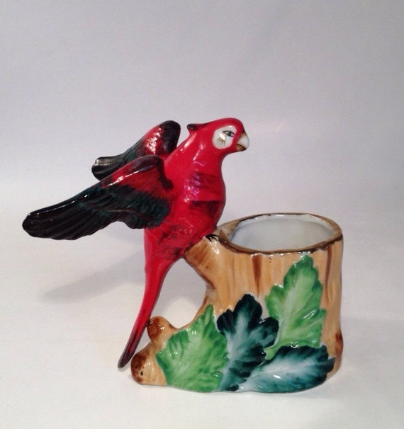 Items similar to vintage hand painted art pottery porcelain majolica parrot macaw bird toothpick - Bird toothpick holder ...