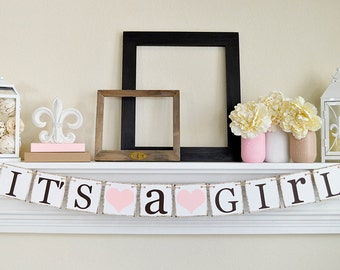 Its a Girl Banner, Baby Shower Decorations, Baby Girl Shower Ideas, Rustic Baby Shower, Its A Girl Sign, Baby Shower Banner