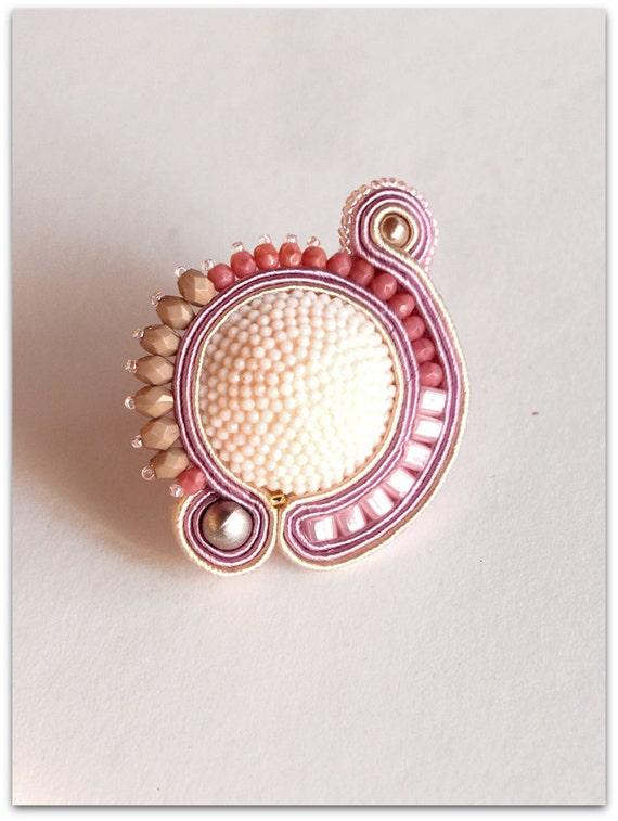 RING, Soutache Soft Pink Ring, HANDICRAFT