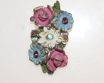 "Pink Blue White Enamel Rhinestone Zinc White Metal Silver Tone Posy Flower 2.25"" Fur Dress Clip"