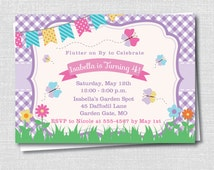 Butterfly Themed Birthday Invitation - Spring Girl Birthday Party - Digital Design or Printed Invitations - FREE SHIPPING