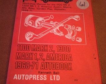 On Sale Autopress LTD Mechanics Workshop Manual for MK, Austin, Morris, MG, Riley 1968-71 Collectible Book