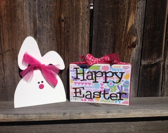 Happy Easter Wood Bunny with sign--Happy Easter blocks